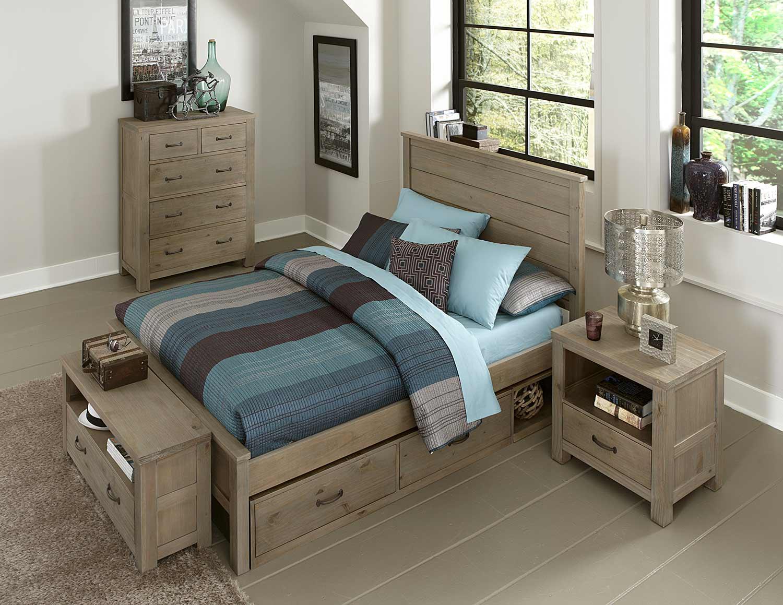 NE Kids Highlands Alex Bedroom Set With Storage - Driftwood