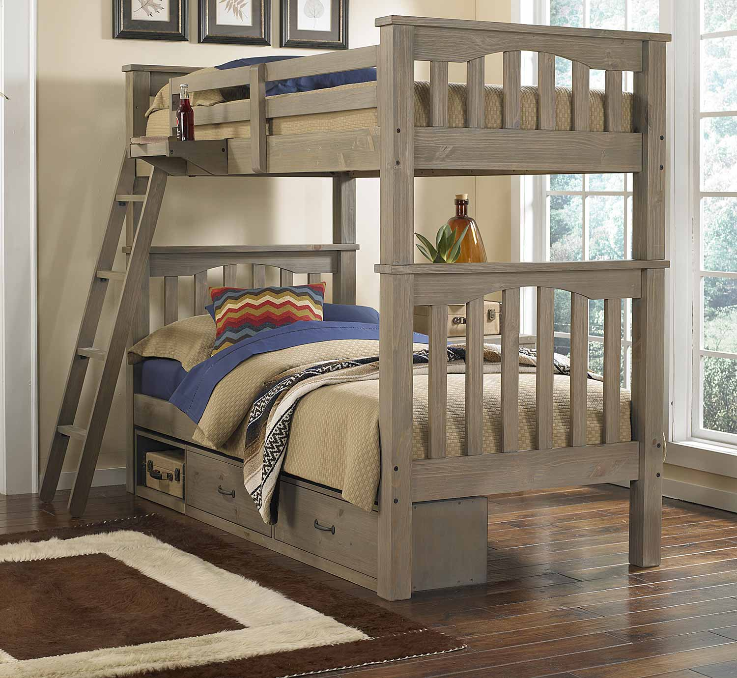 NE Kids Highlands Harper Twin/Twin Bunk With Storage - Driftwood