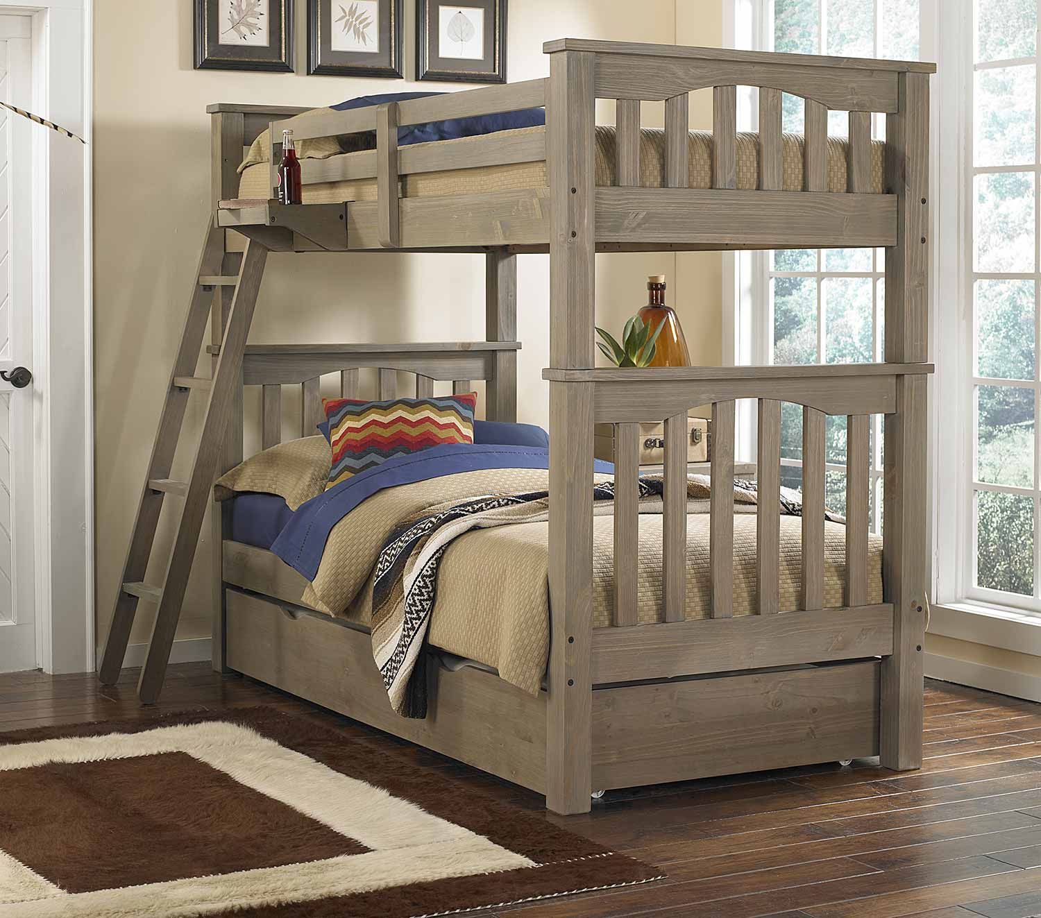 NE Kids Highlands Harper Twin/Twin Bunk With Trundle - Driftwood