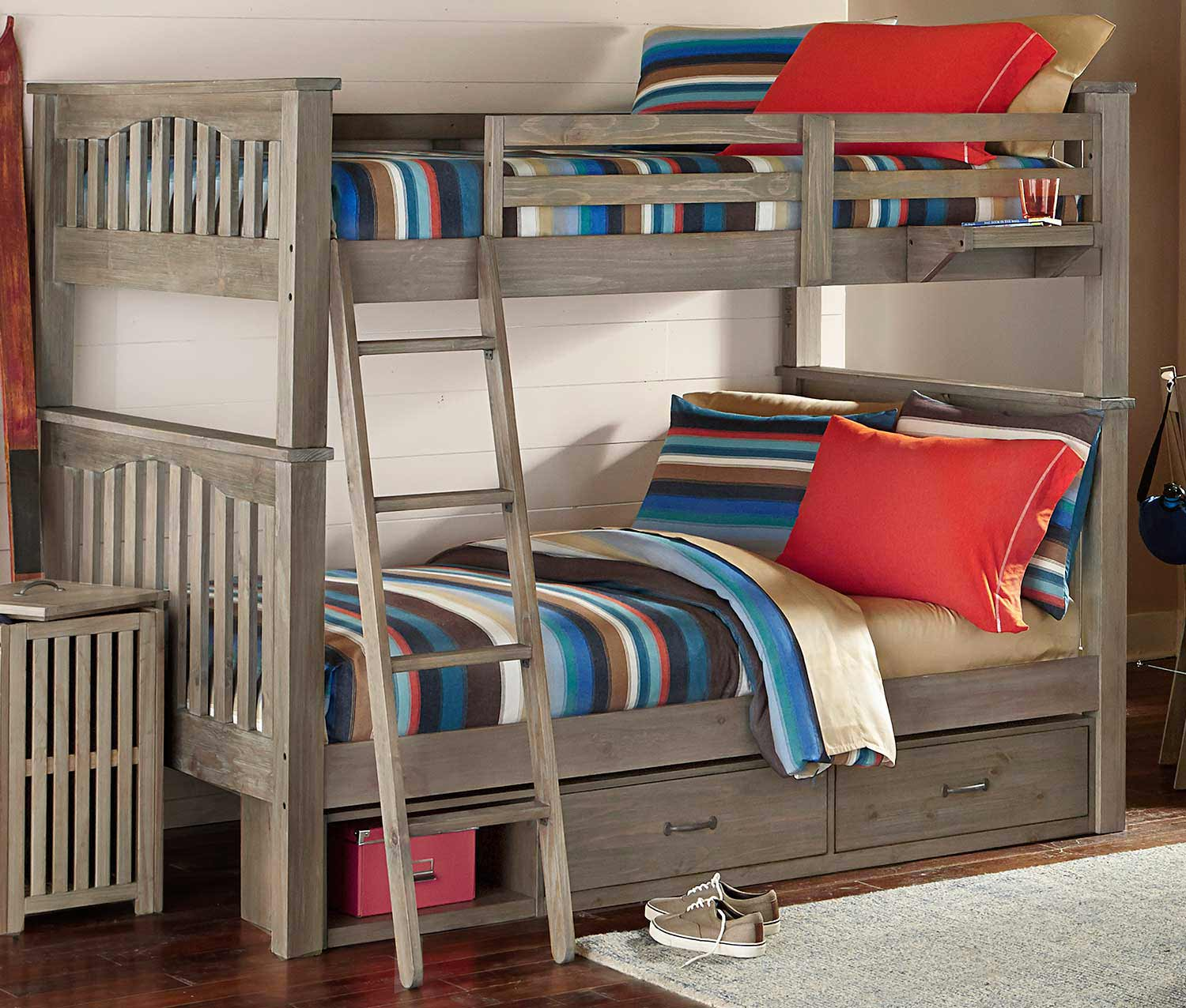 NE Kids Highlands Harper Full Over Full Bunk With Storage - Driftwood