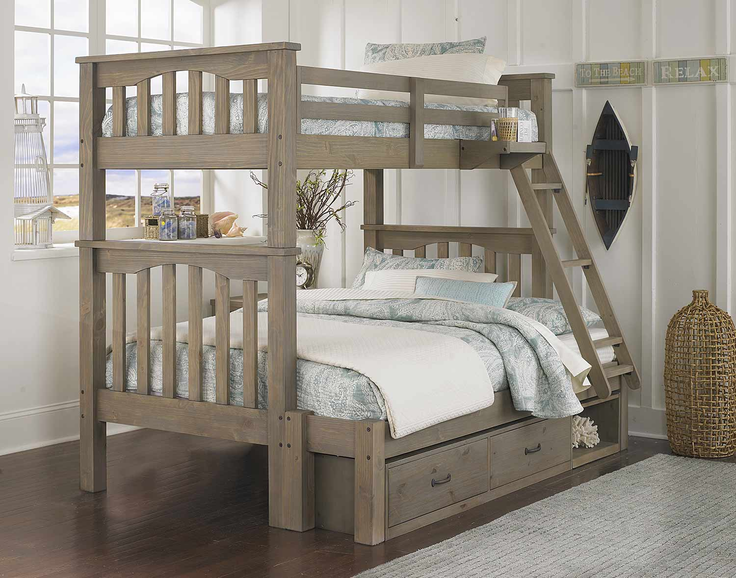 NE Kids Highlands Harper Twin Over Full Bunk With Storage - Driftwood