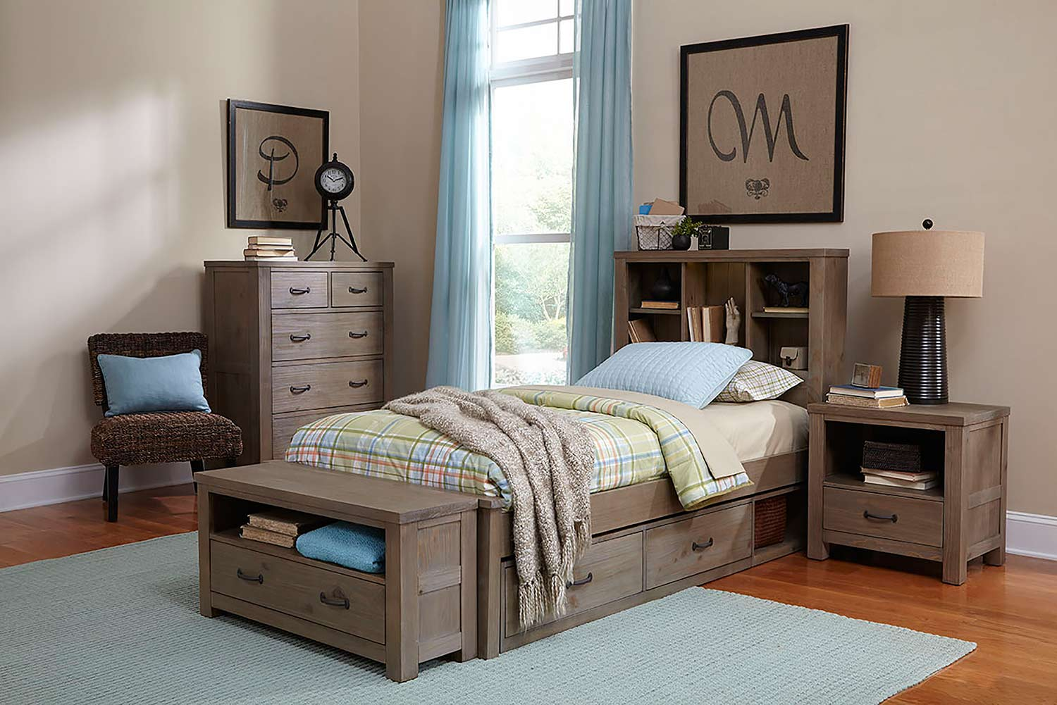 NE Kids Highlands Bookcase Bedroom Set - Driftwood