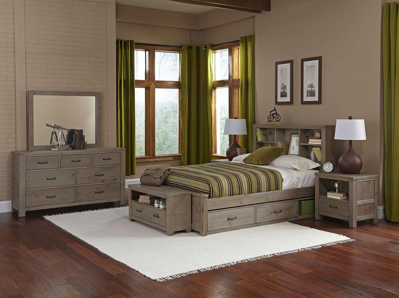 NE Kids Highlands Bookcase Bedroom Set With Storage - Driftwood