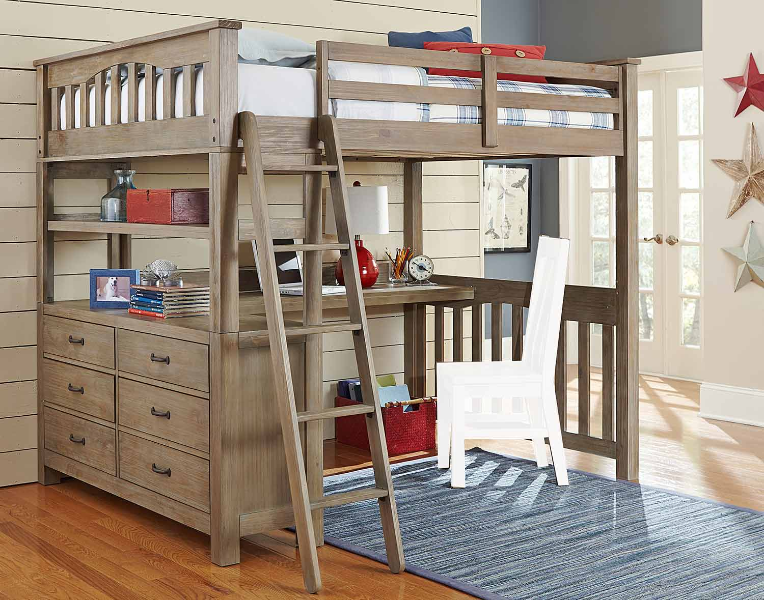 NE Kids Highlands Loft Bed with Desk - Driftwood