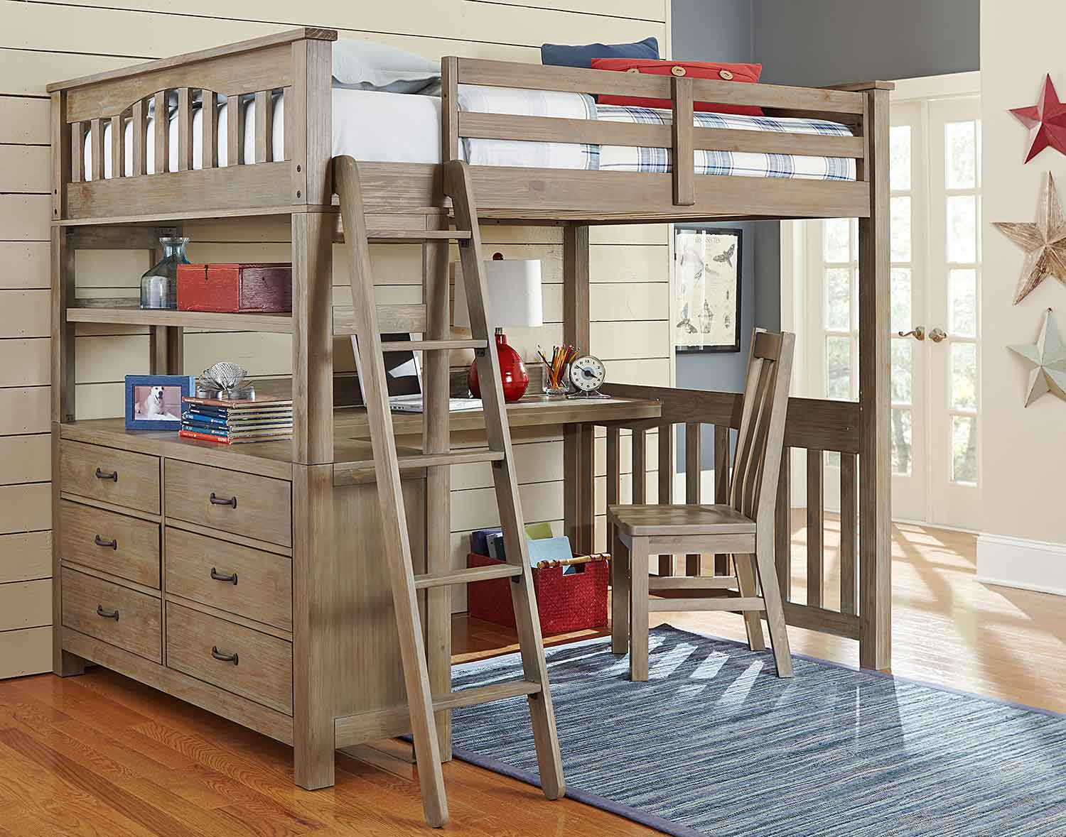 NE Kids Highlands Loft Bed with Desk And Chair - Driftwood