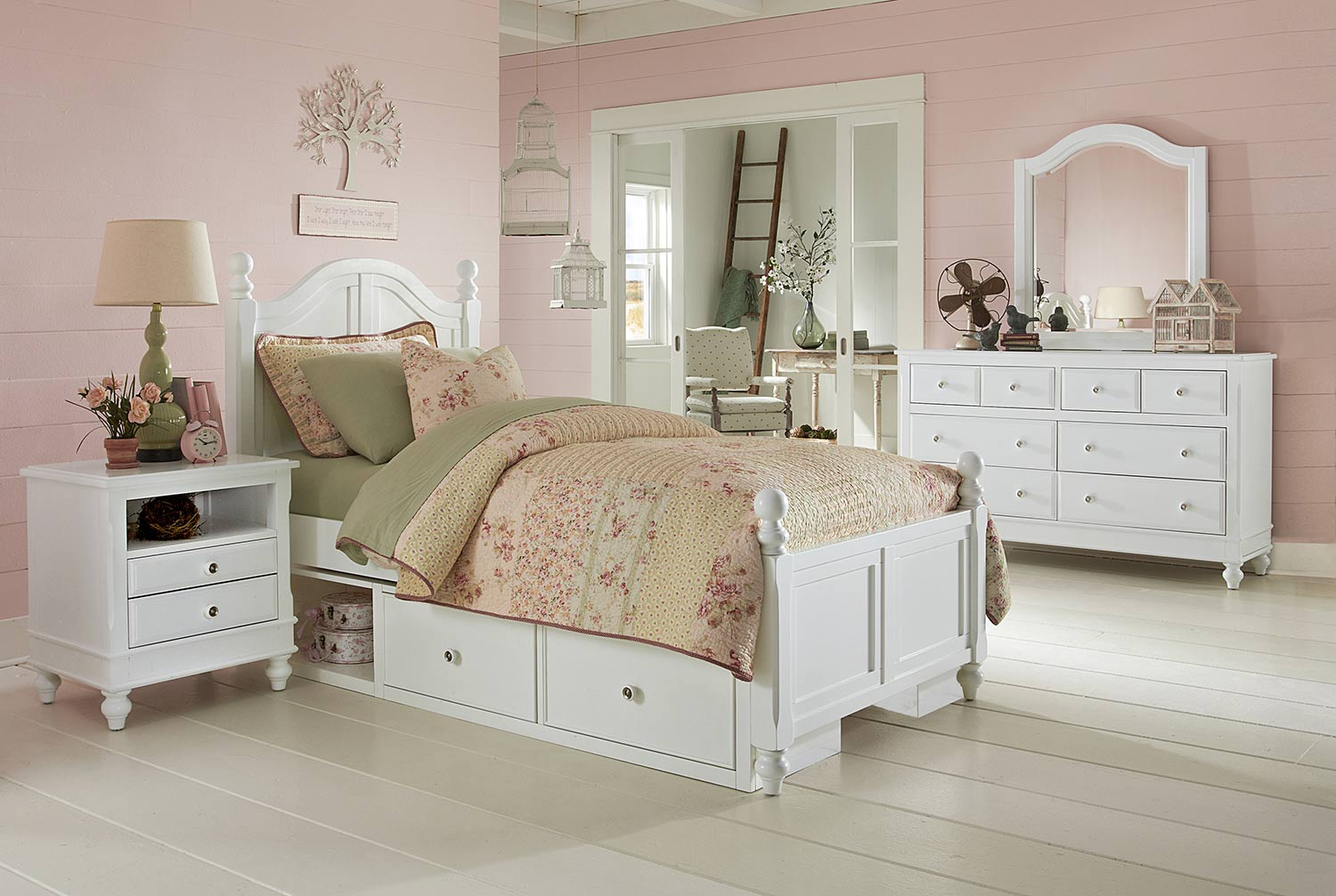 NE Kids Lake House Payton Arch Bedroom Set With Storage - White