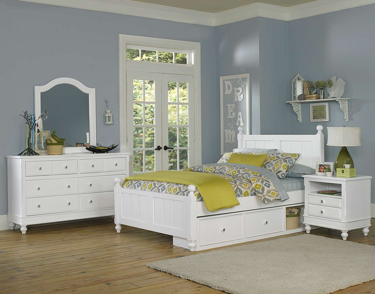 NE Kids Lake House Kennedy Bedroom Set With Storage - White