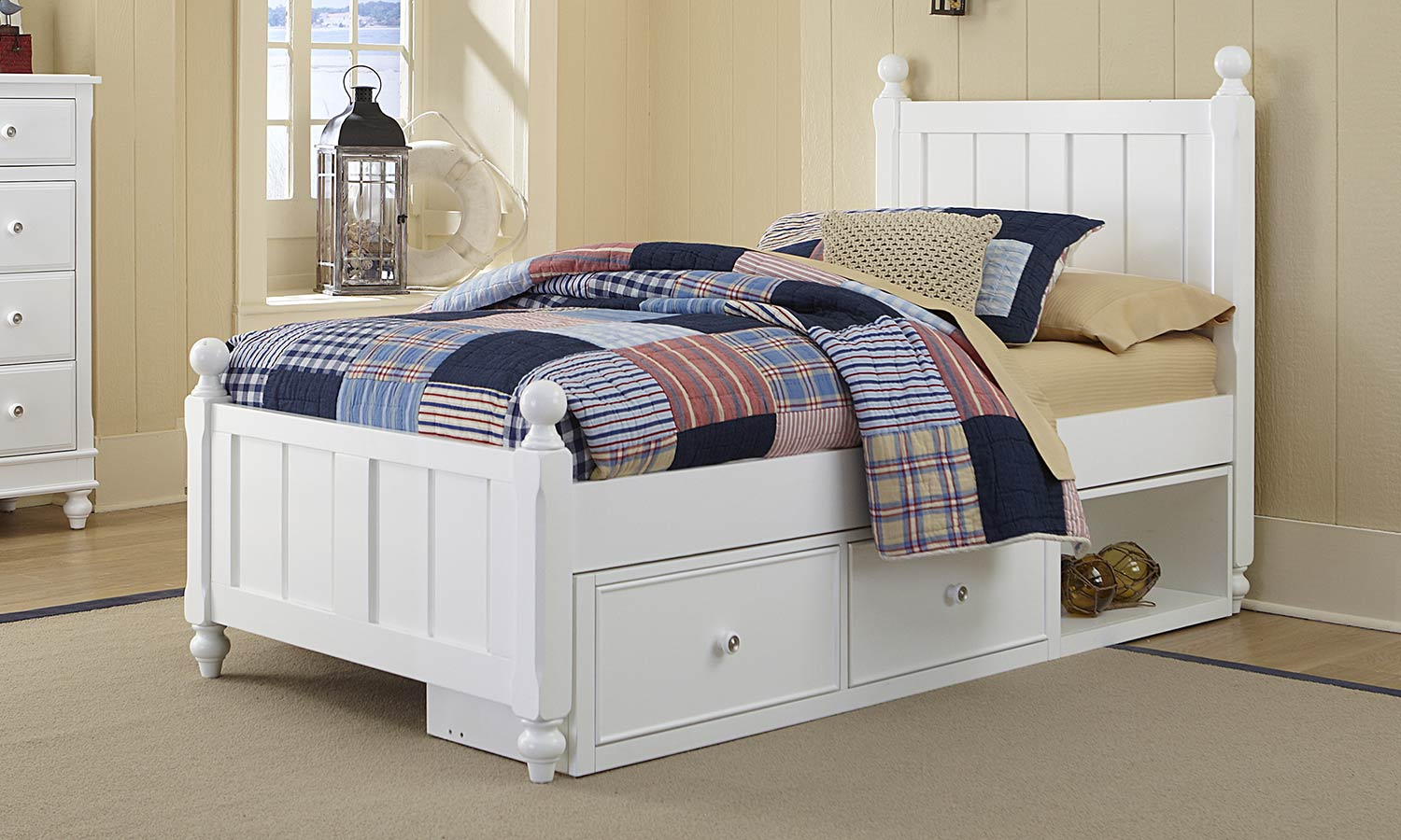 NE Kids Lake House Kennedy Bed With Storage - White