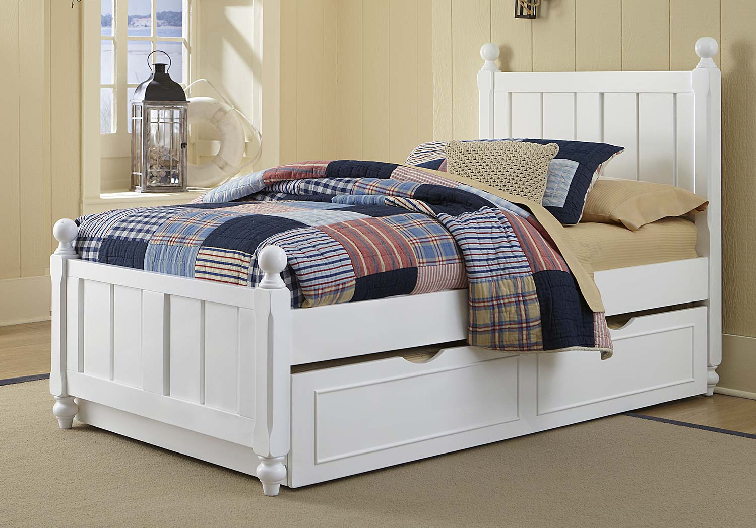 NE Kids Lake House Kennedy Bed With Trundle - White