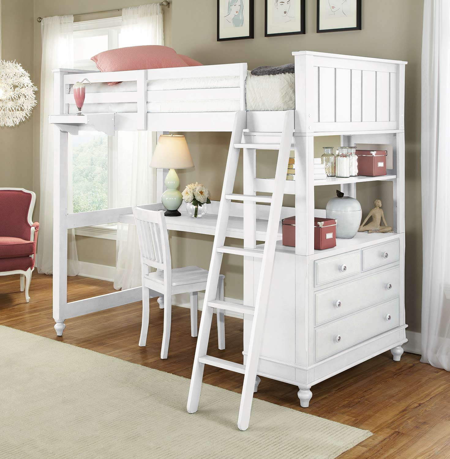 NE Kids Lake House Loft Bed with Desk - White