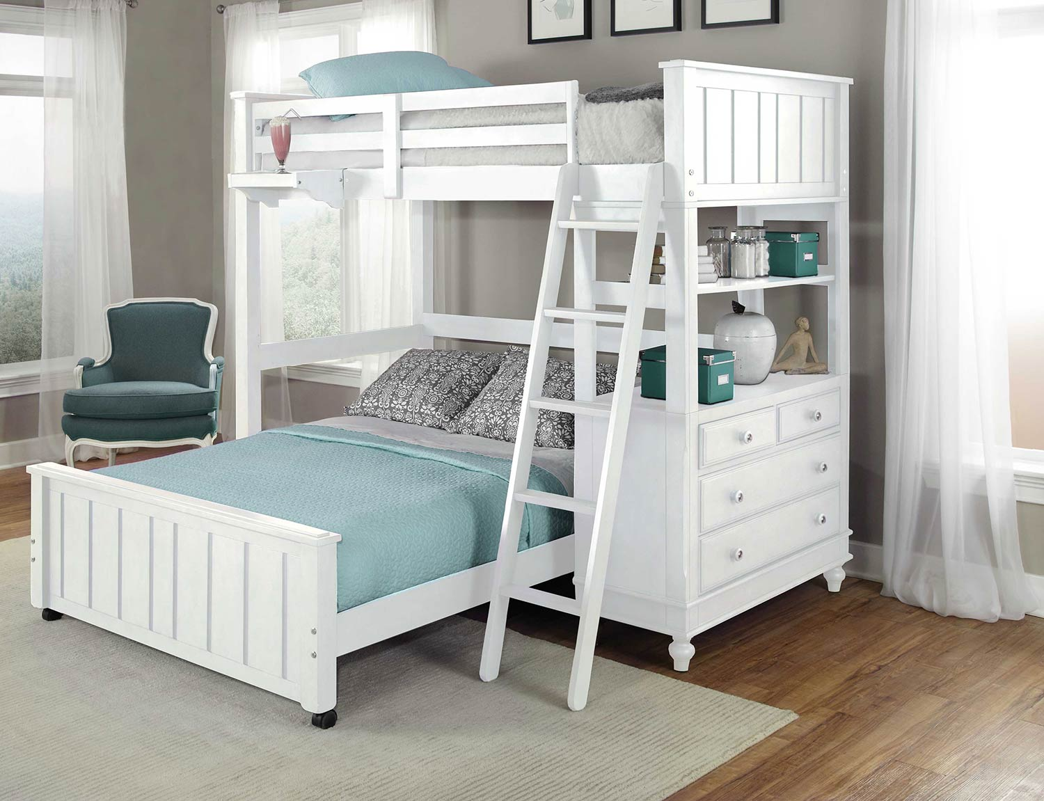 NE Kids Lake House Loft Bed with Full Lower Bed - White
