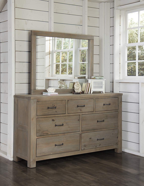 NE Kids Highlands 7 Drawer Dresser with Mirror - Driftwood