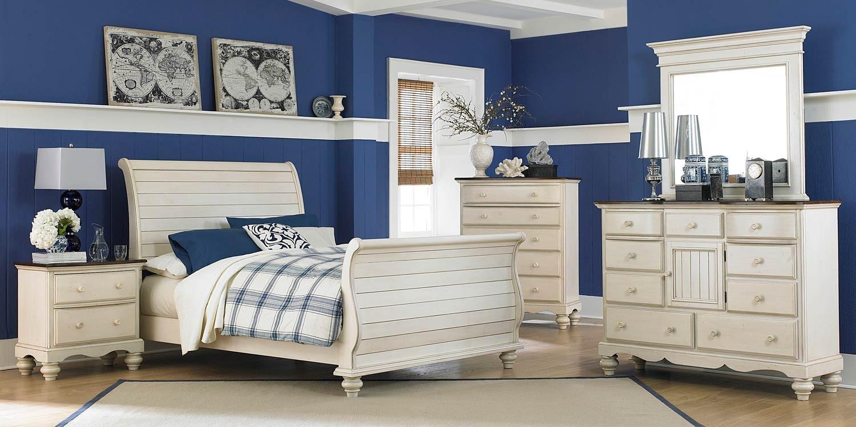 Hillsdale Pine Island Sleigh Bedroom Set   Old White