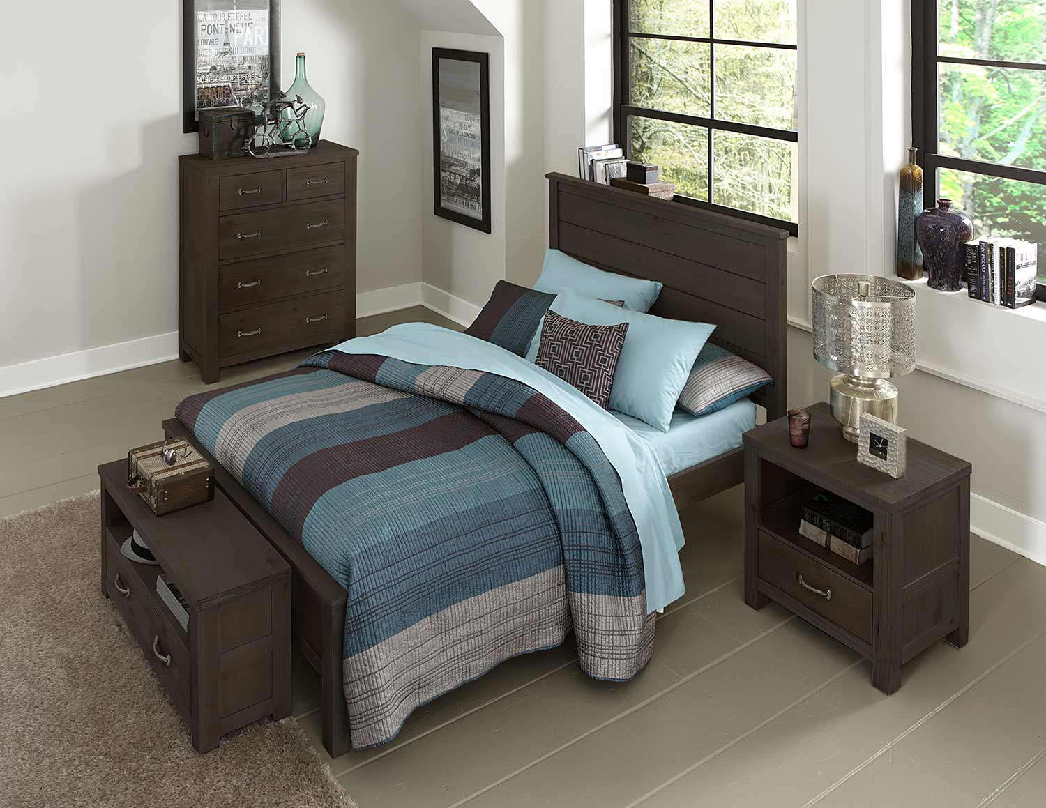 NE Kids Highlands Alex Panel Bedroom Set - Espresso