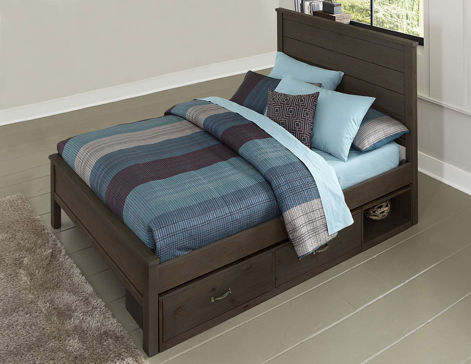 NE Kids Highlands Alex Panel Bed With Storage - Espresso
