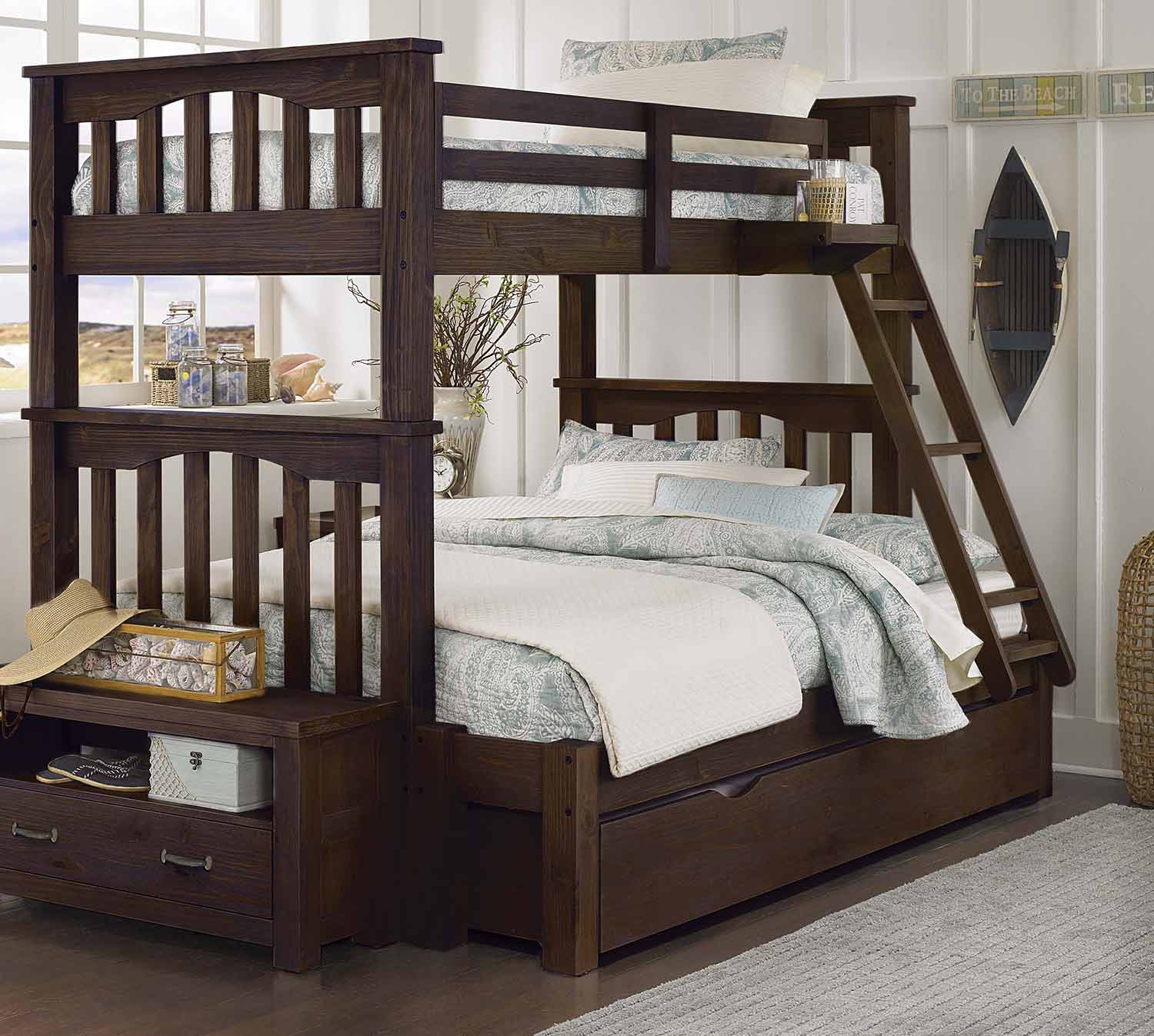 NE Kids Highlands Harper Twin Over Full Bunk With Trundle - Espresso