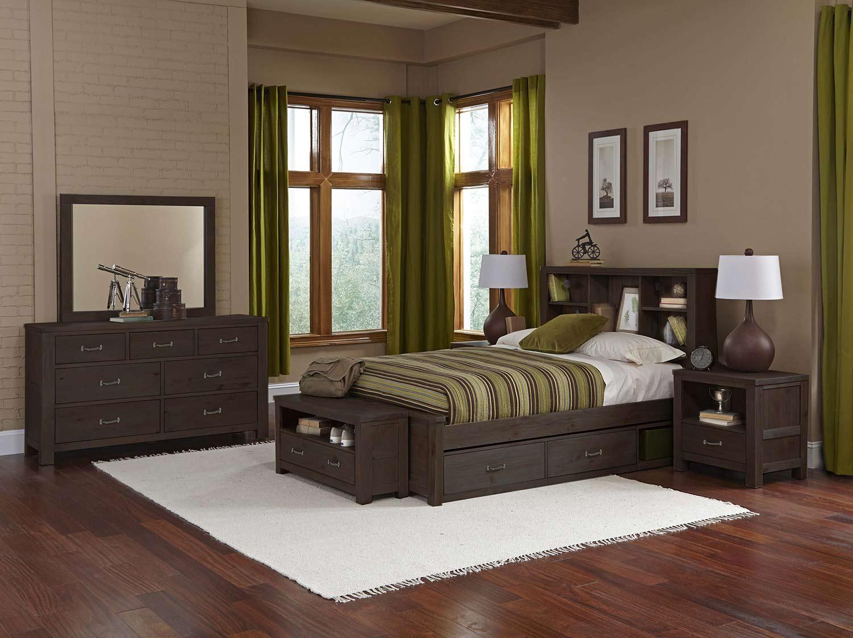 NE Kids Highlands Bookcase Bedroom Set With Storage - Espresso