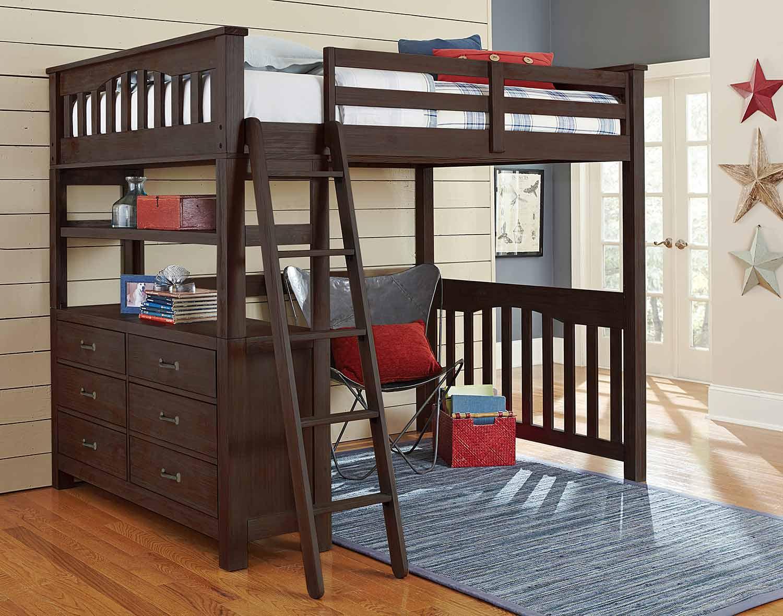 NE Kids Highlands Loft Bed - Espresso