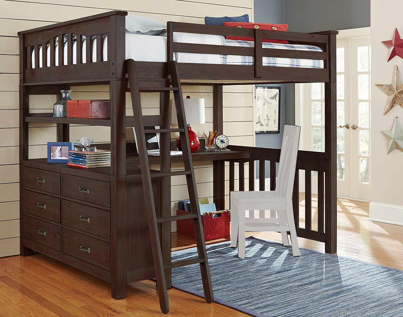 NE Kids Highlands Loft Bed with Desk - Espresso