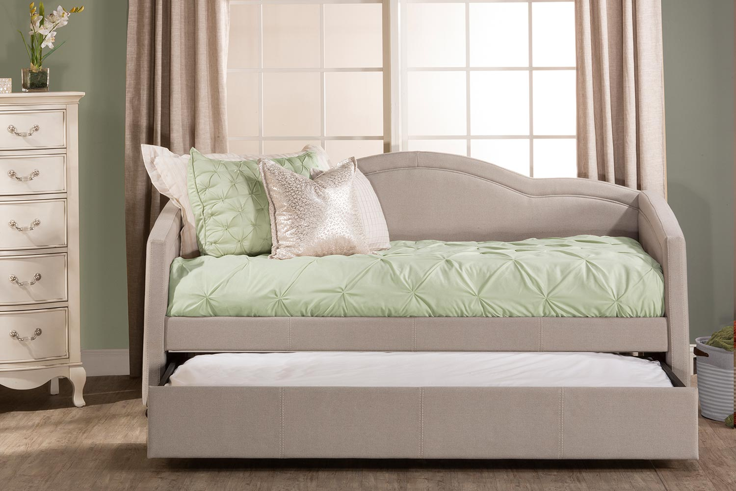 Hillsdale Jasmine Daybed with Trundle - Dove Gray Fabric