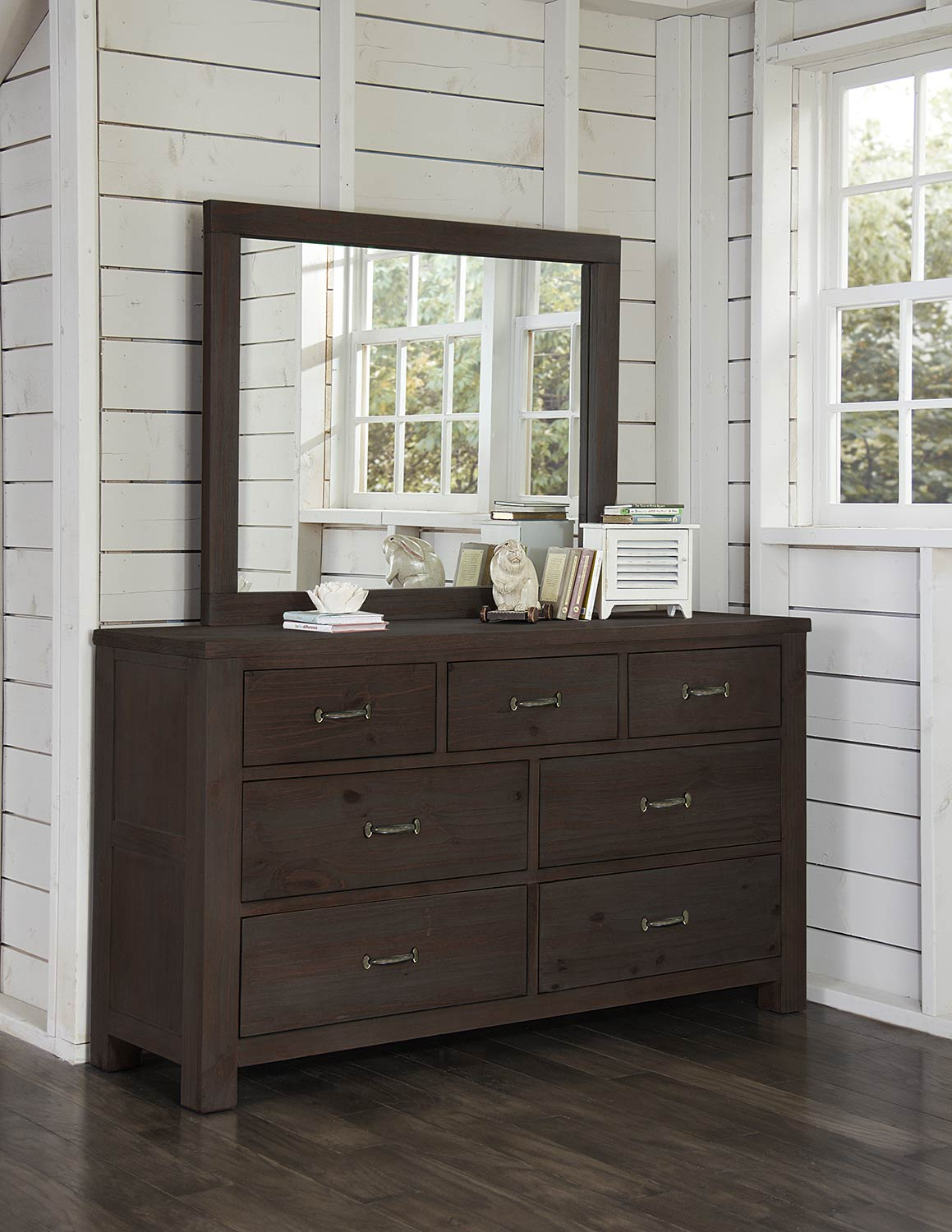 NE Kids Highlands 7 Drawer Dresser with Mirror - Espresso