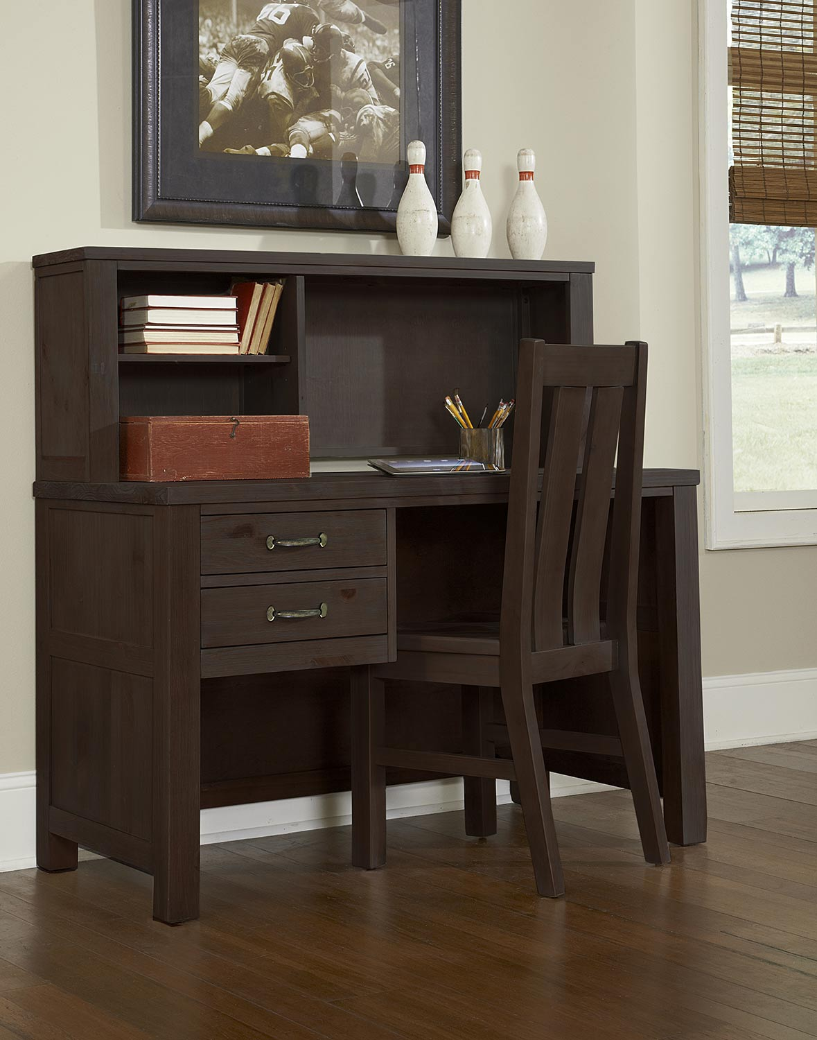 NE Kids Highlands Desk with Hutch And Chair - Espresso