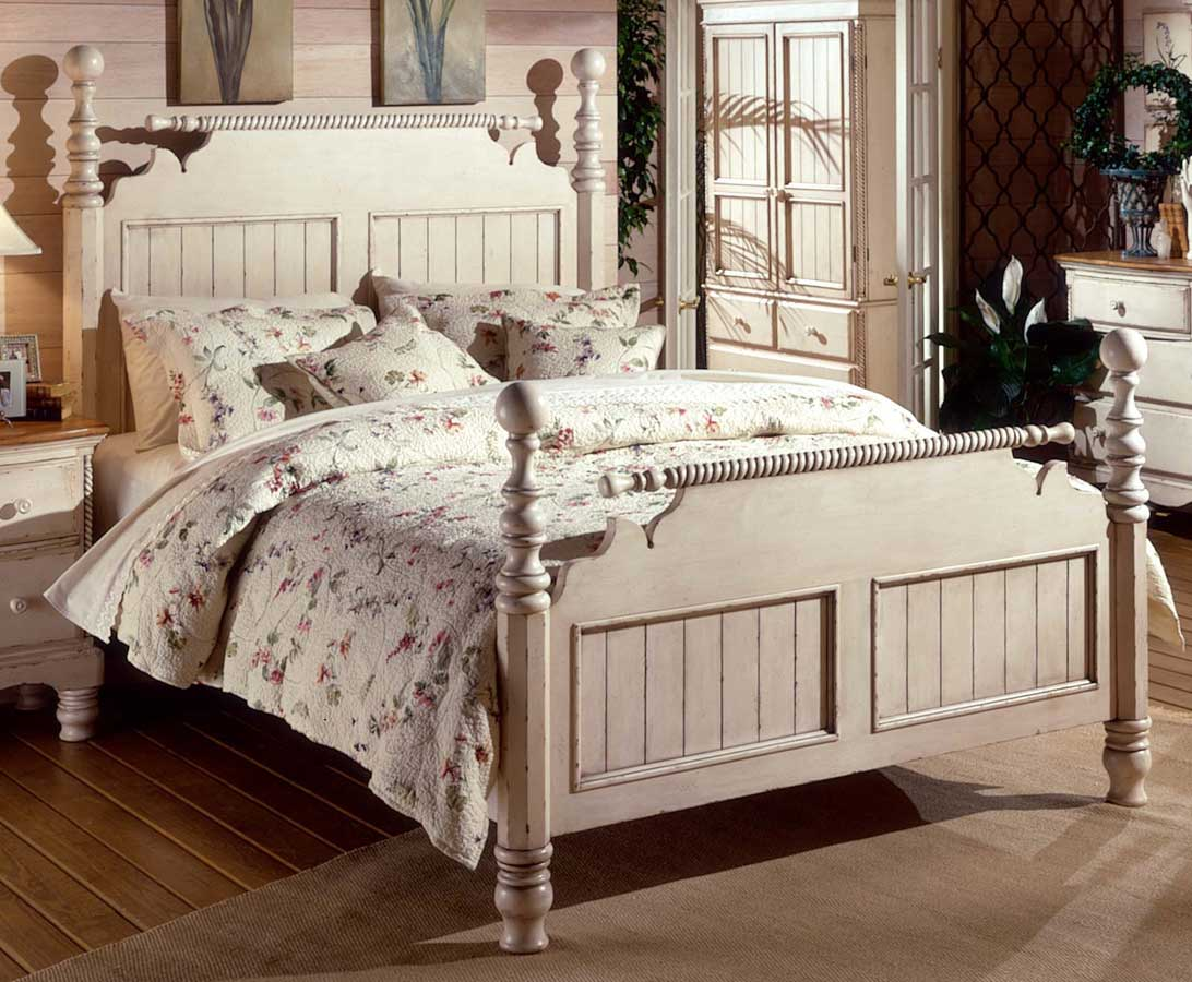 Hillsdale Wilshire Post Bed - Antique White - Hillsdale Wilshire Post Bed - Antique White 1172-PostBed