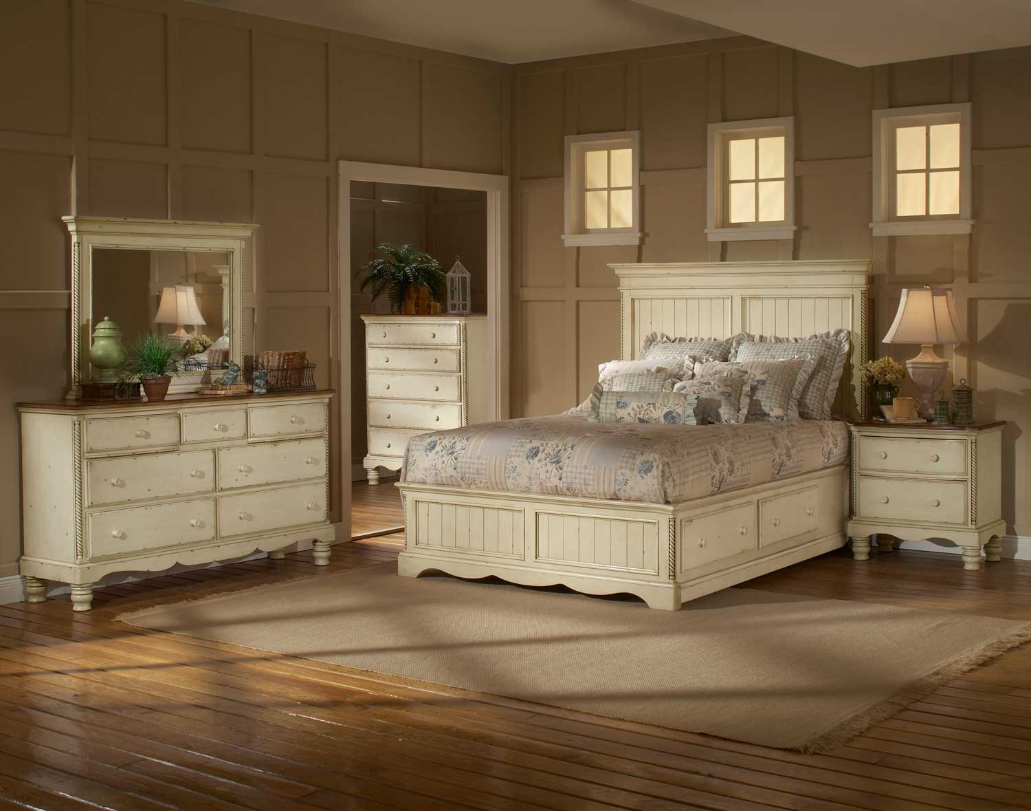 hillsdale wilshire panel storage bedroom set - antique white