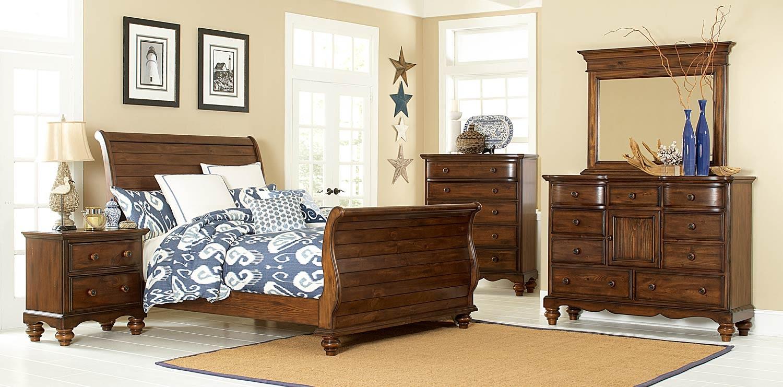 Hillsdale Pine Island Sleigh Bedroom Set   Dark Pine