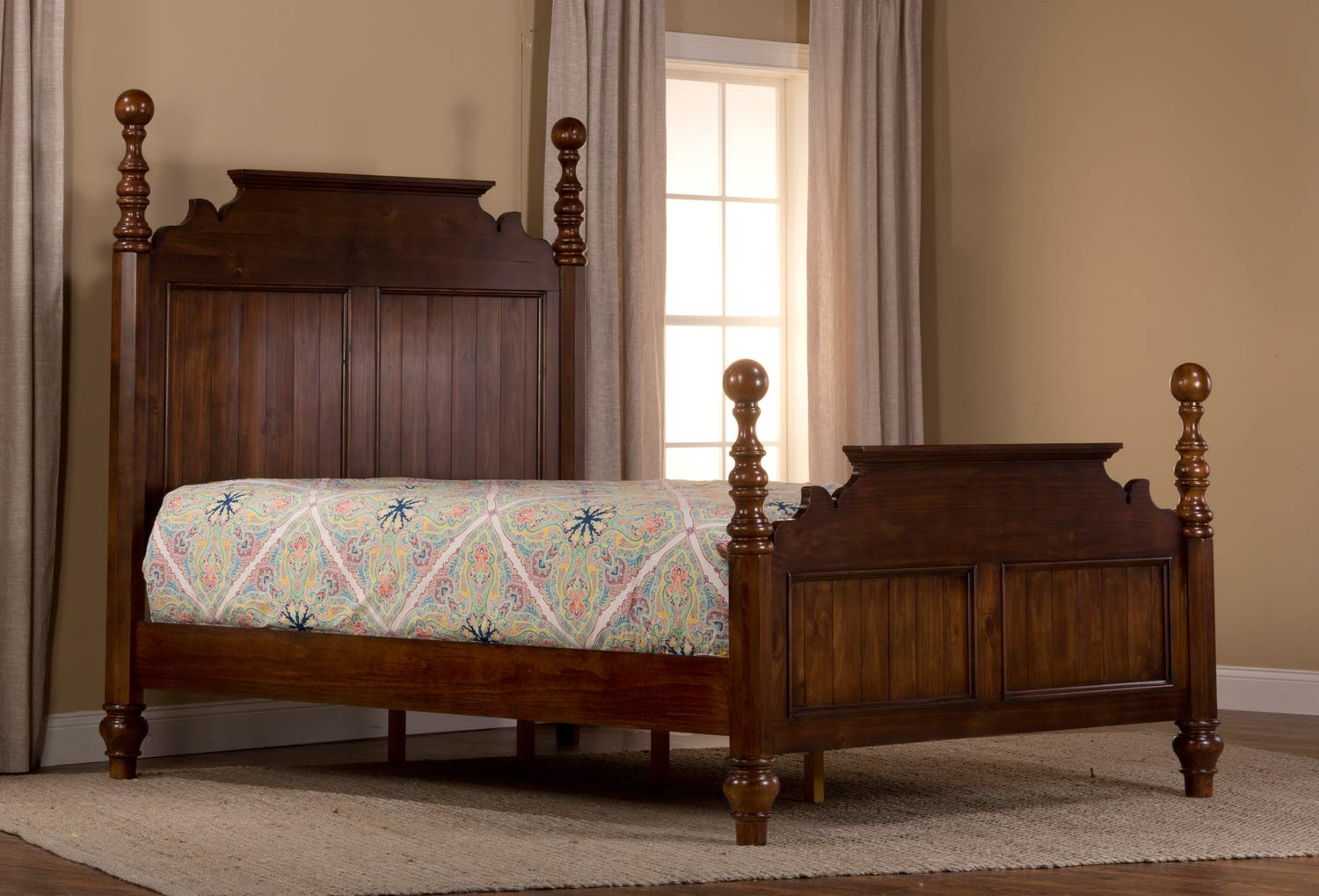 Hillsdale pine island sleigh bedroom set dark pine 1215 bed set - Bedroom farnitures hd ...