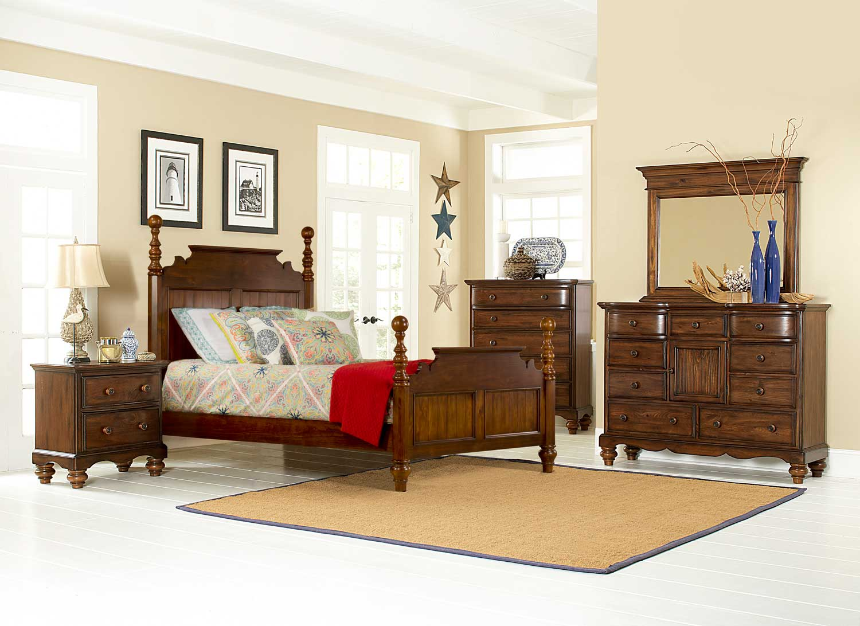 Hillsdale Pine Island Post Bedroom Set - Dark Pine 1215-Post-Bed ...
