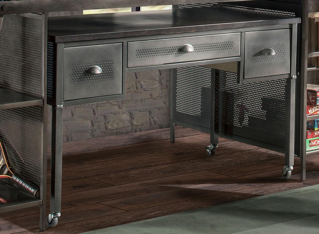 Hillsdale Urban Quarters Desk - Black Steel with Antique Cherry Finish Metal
