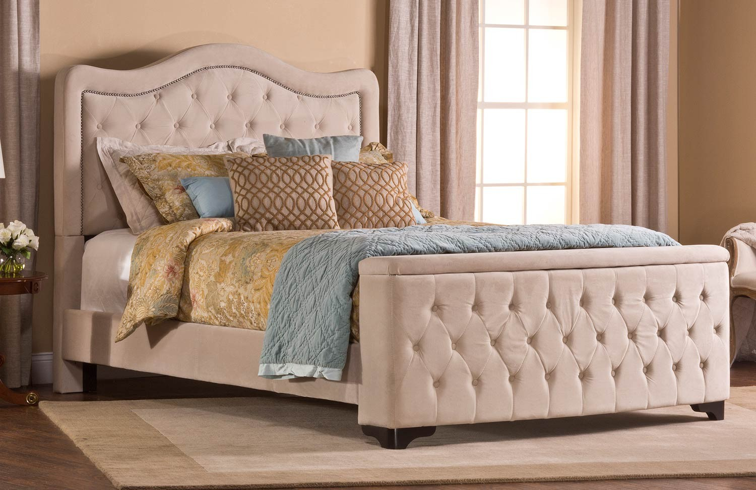 Hillsdale Trieste Tufted Upholstered Bed - Storage Footboard - Buckwheat & Hillsdale Trieste Tufted Upholstered Bed - Storage Footboard ...