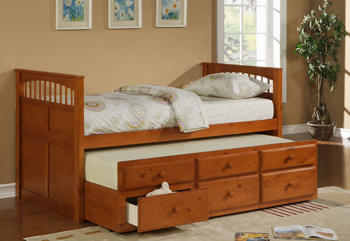 Hillsdale Taylor Falls Twin Captains Bed Medium Pine