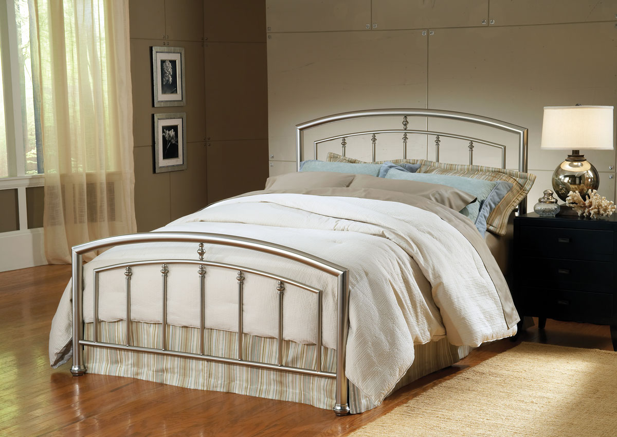 Brushed Nickel King Size Headboard: Matte Nickel 1685-BED