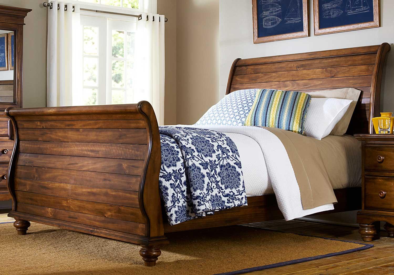 Hillsdale Hamptons Sleigh Bed - Dark Pine