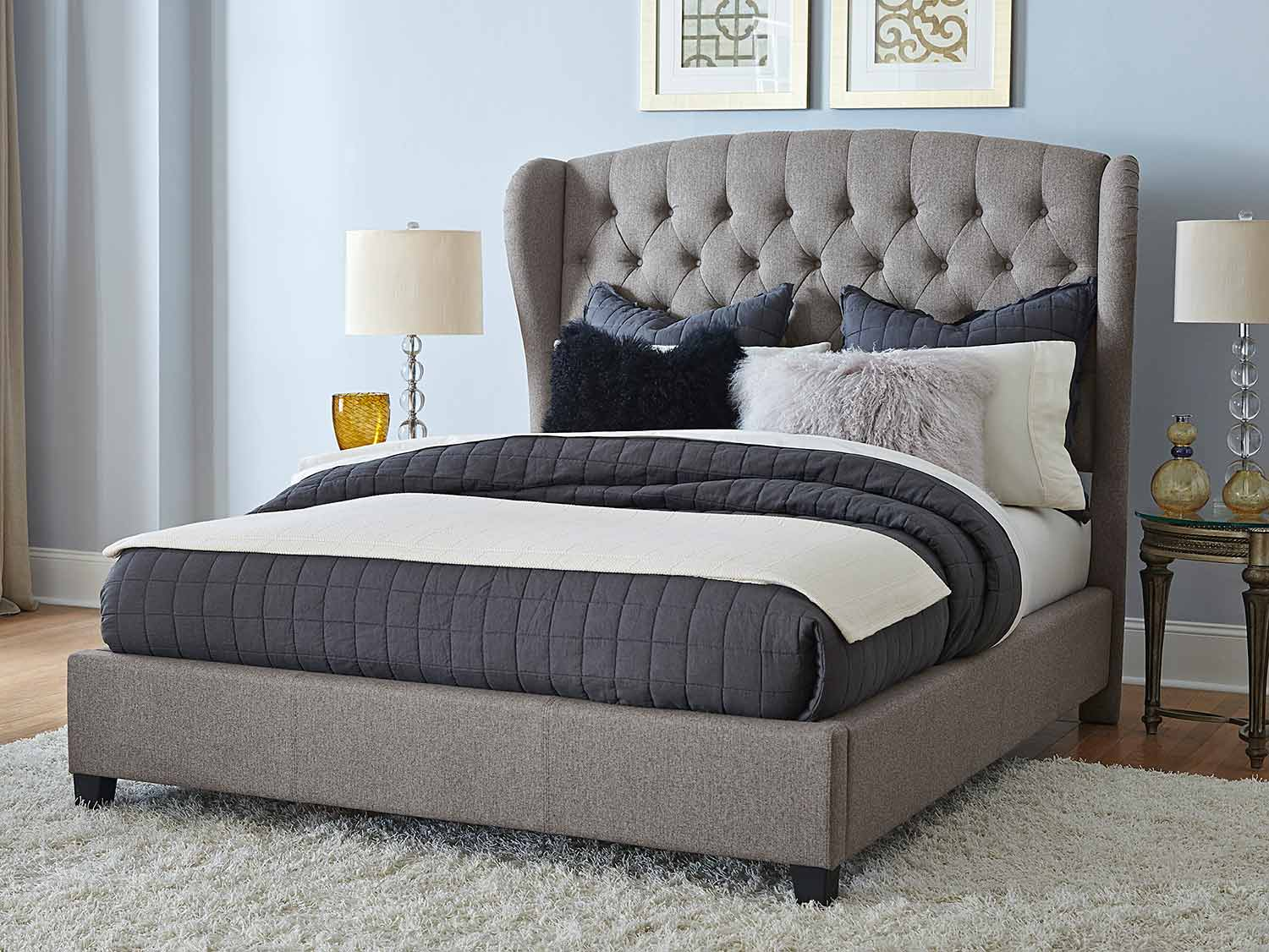 Hillsdale Bromley Upholstered Bed - Orly Gray Fabric