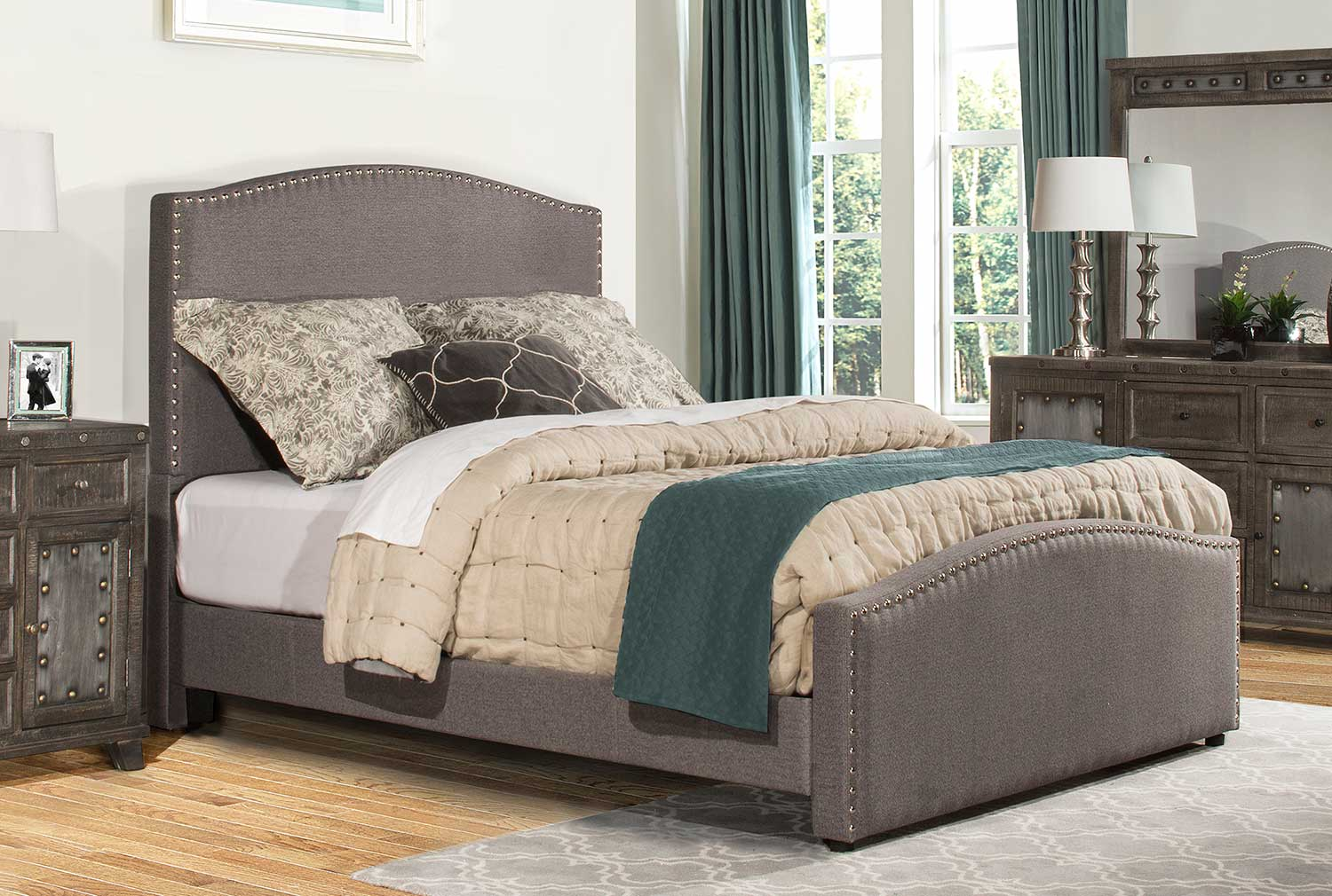 Hillsdale Kerstein Bed - Orly Gray Fabric