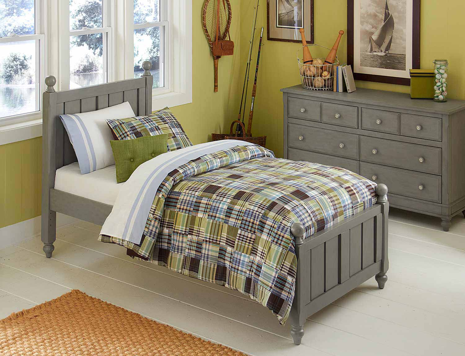 NE Kids Lake House Kennedy Panel Bedroom Set - Stone