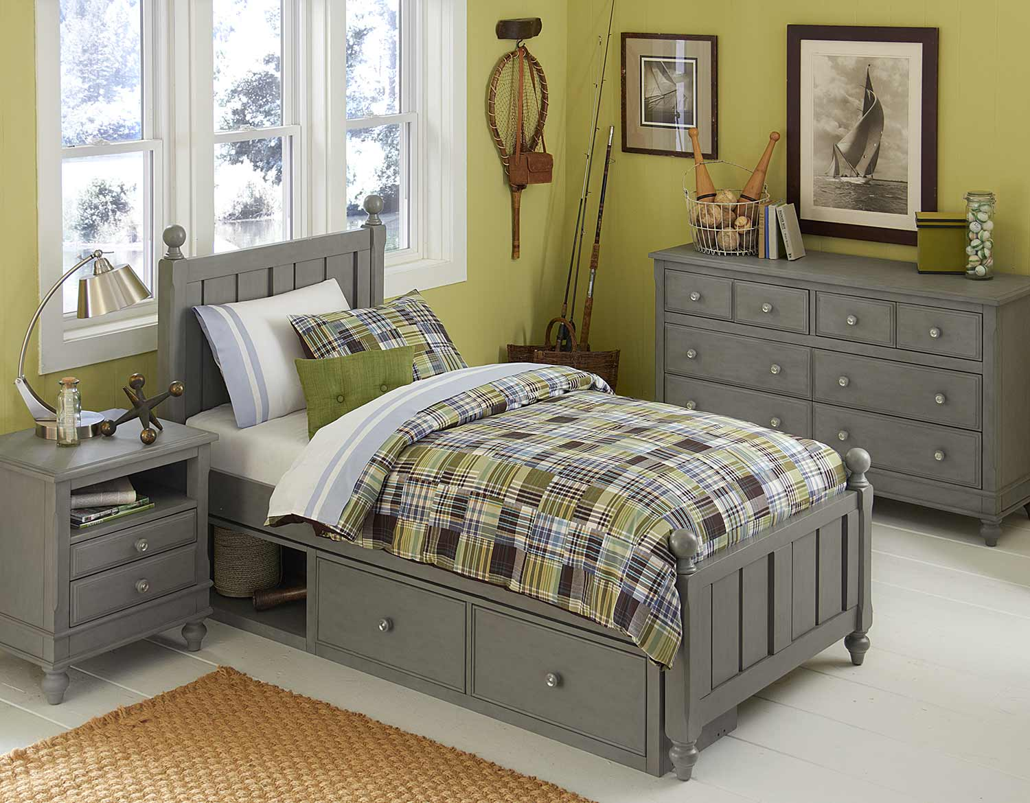 NE Kids Lake House Kennedy Bedroom Set With Storage - Stone