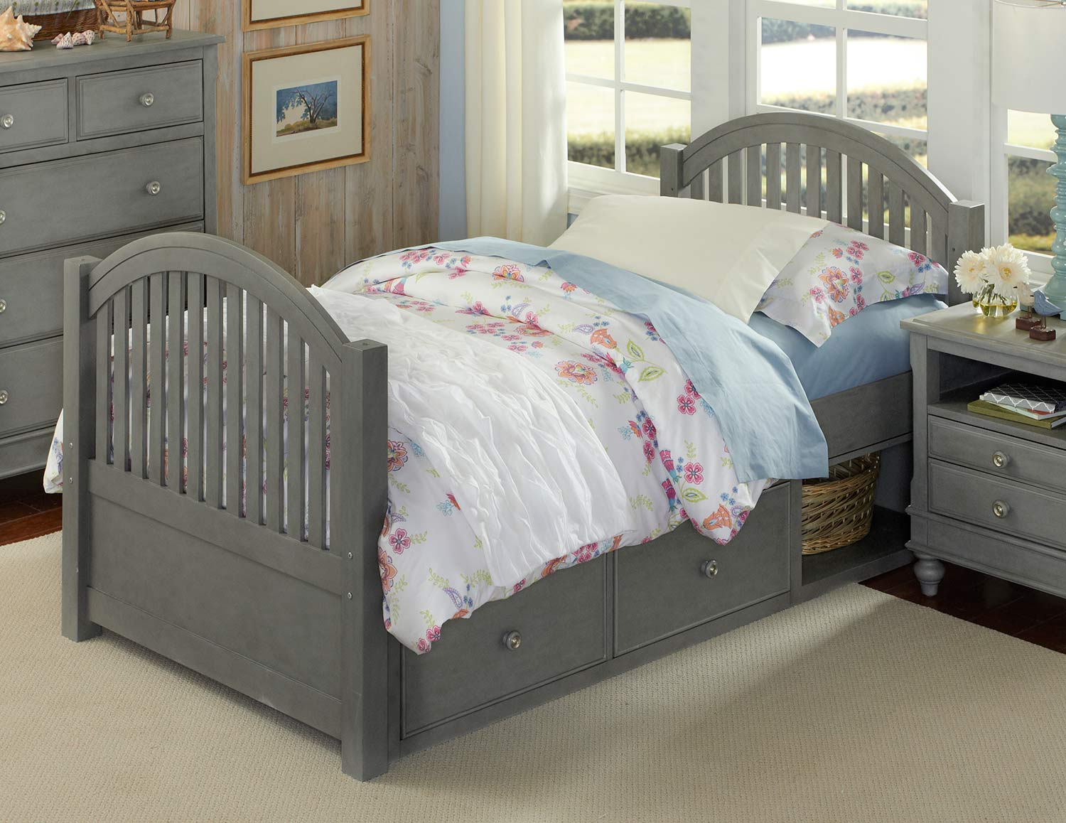 NE Kids Lake House Adrian Twin Bed With Storage - Stone