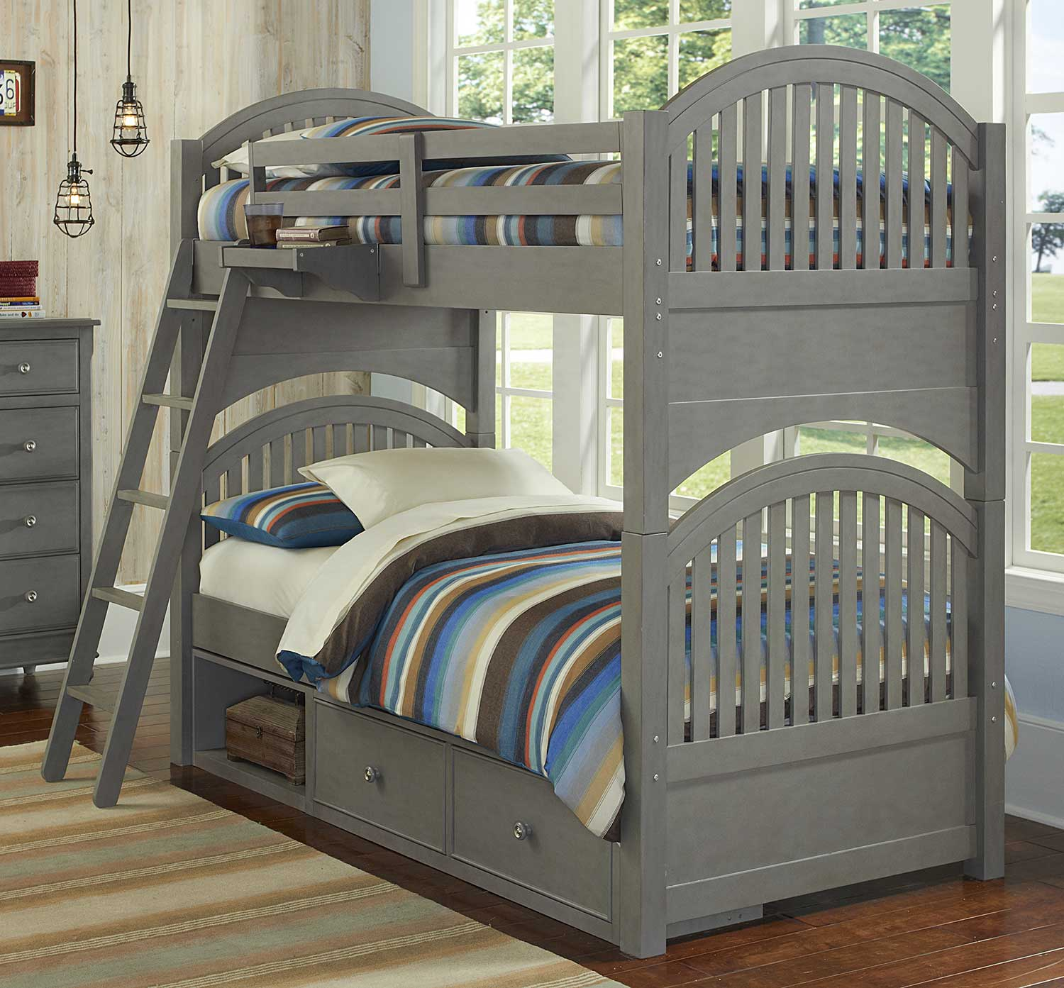 NE Kids Lake House Adrain Twin Over Twin Bunk With Storage - Stone