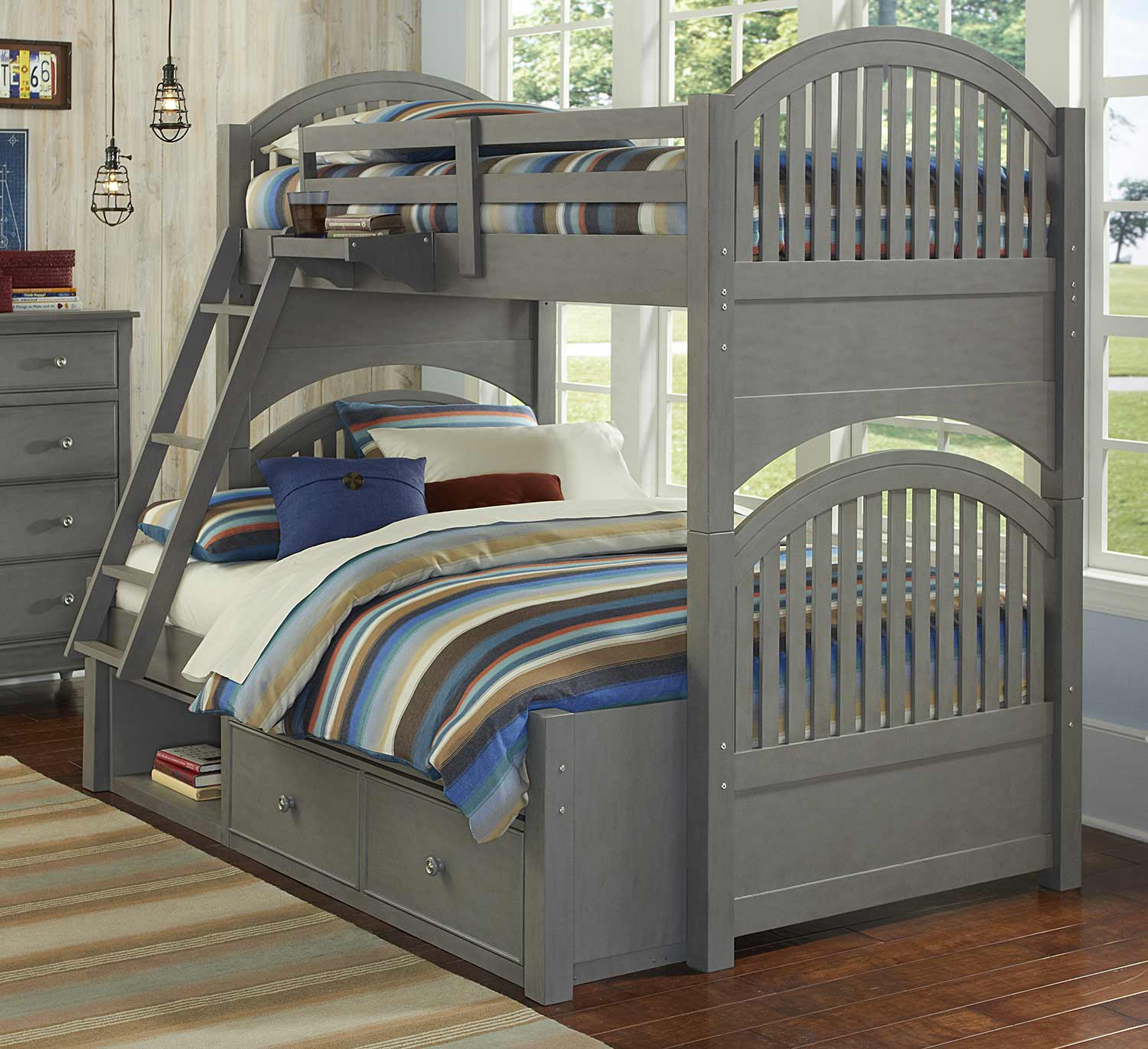 NE Kids Lake House Adrian Twin Over Full Bunk With Storage - Stone
