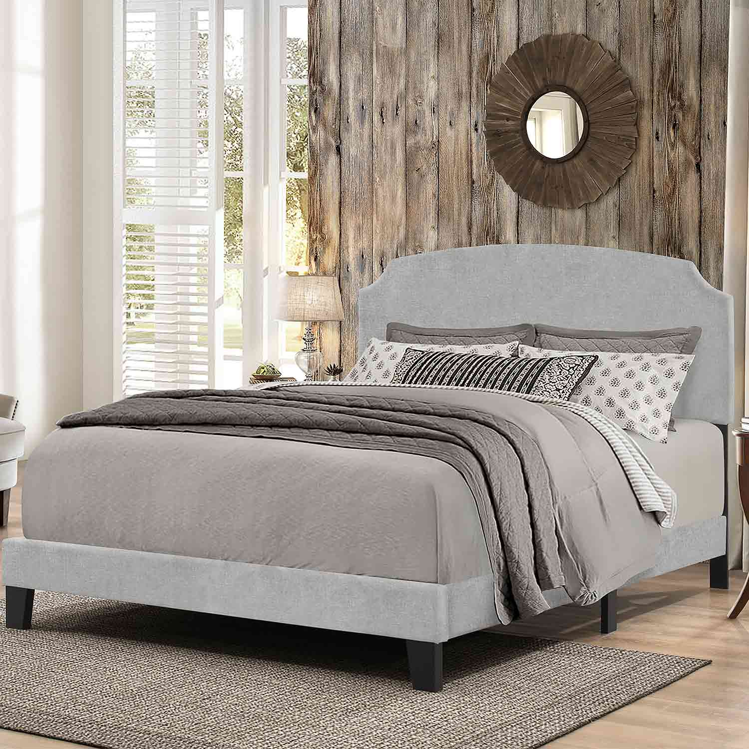 Hillsdale Desi Bed - Glacier Gray Fabric