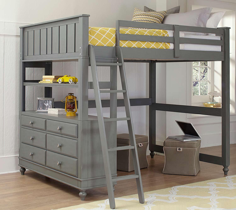NE Kids Lake House Loft Bed - Stone