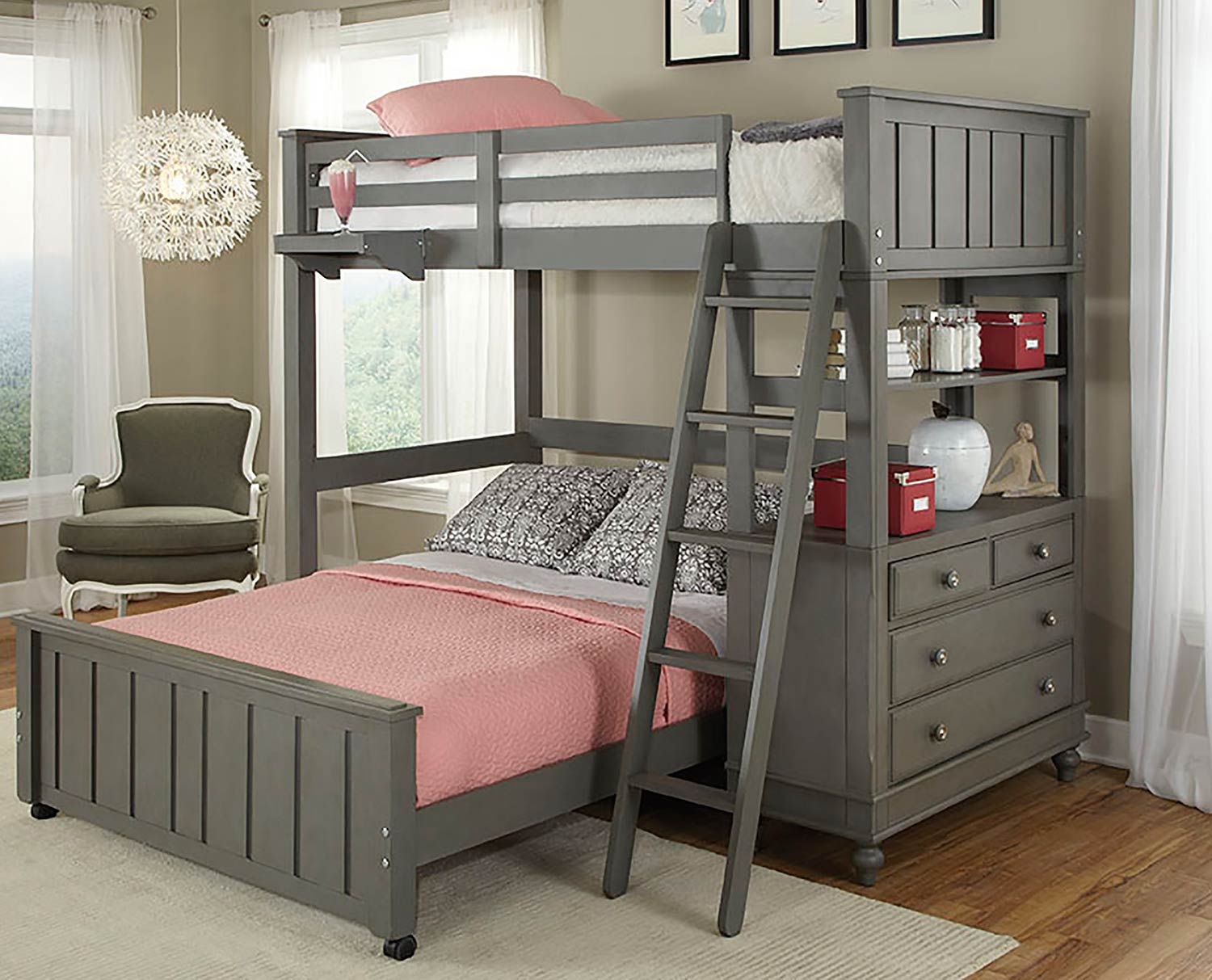 NE Kids Lake House Loft Bed with Full Lower Bed - Stone