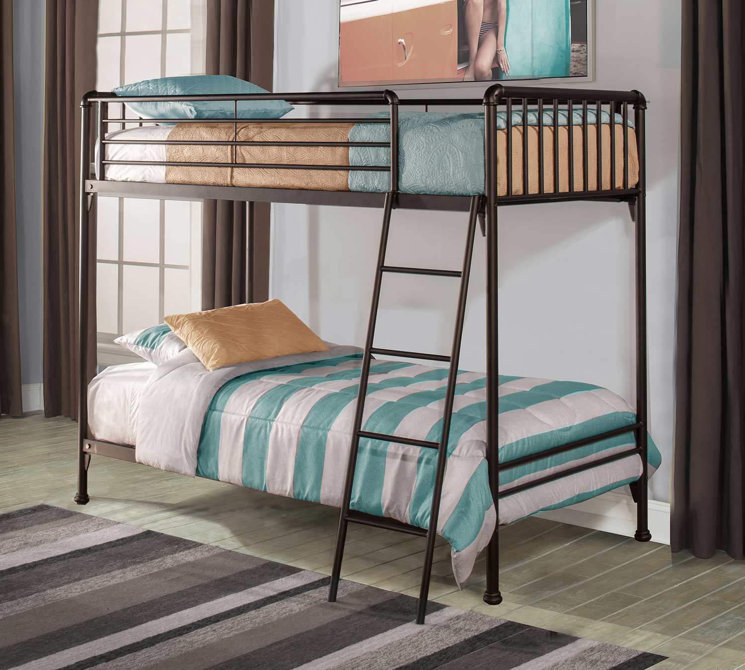 Hillsdale Brandi Twin/Twin Bunk Bed - Oiled Bronze