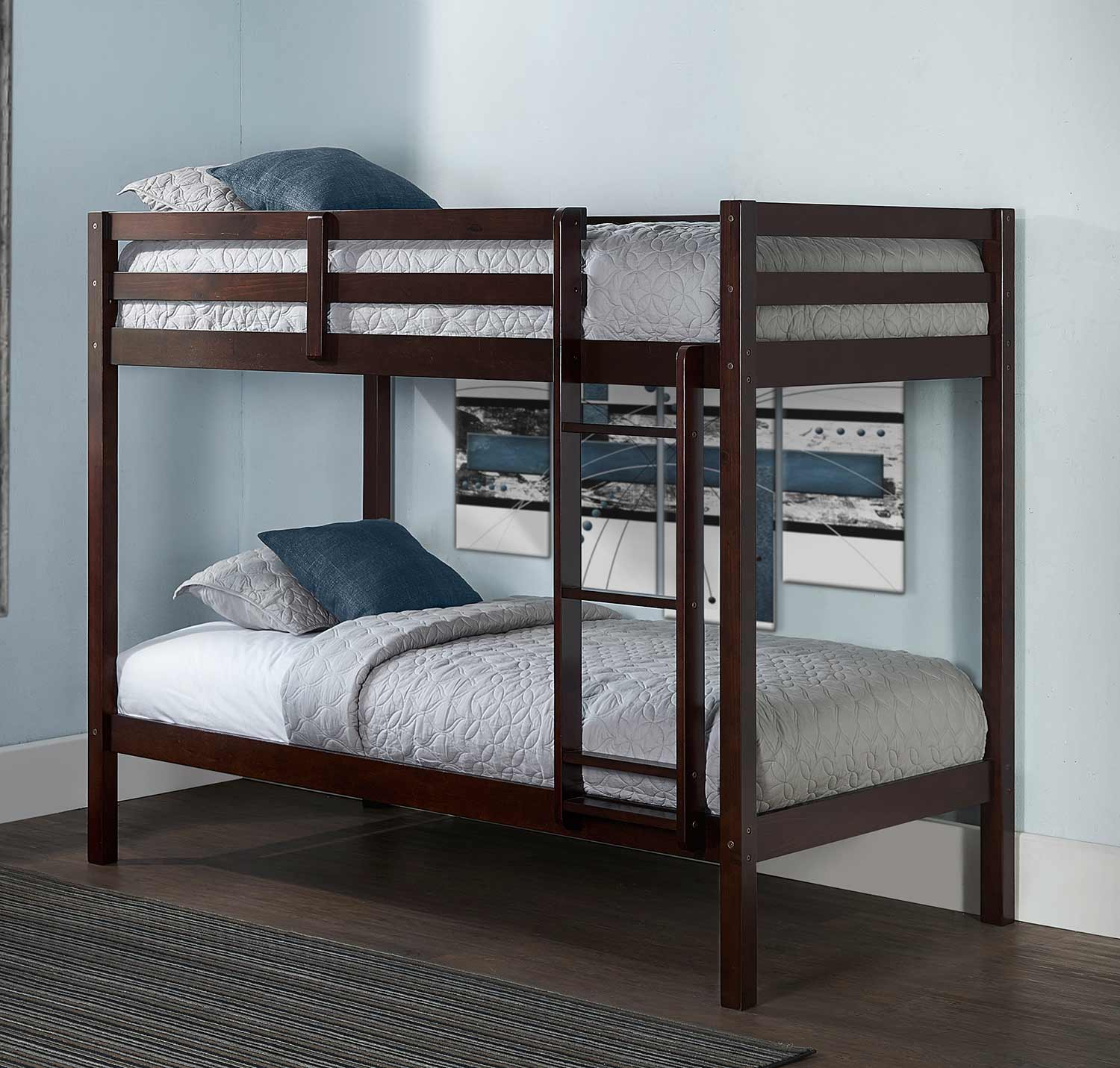 Hillsdale Caspian Twin Over Twin Bunk Bed - Chocolate