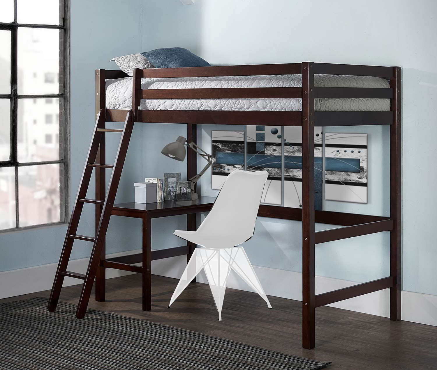 Hillsdale Caspian Twin Study Loft Bed - Chocolate