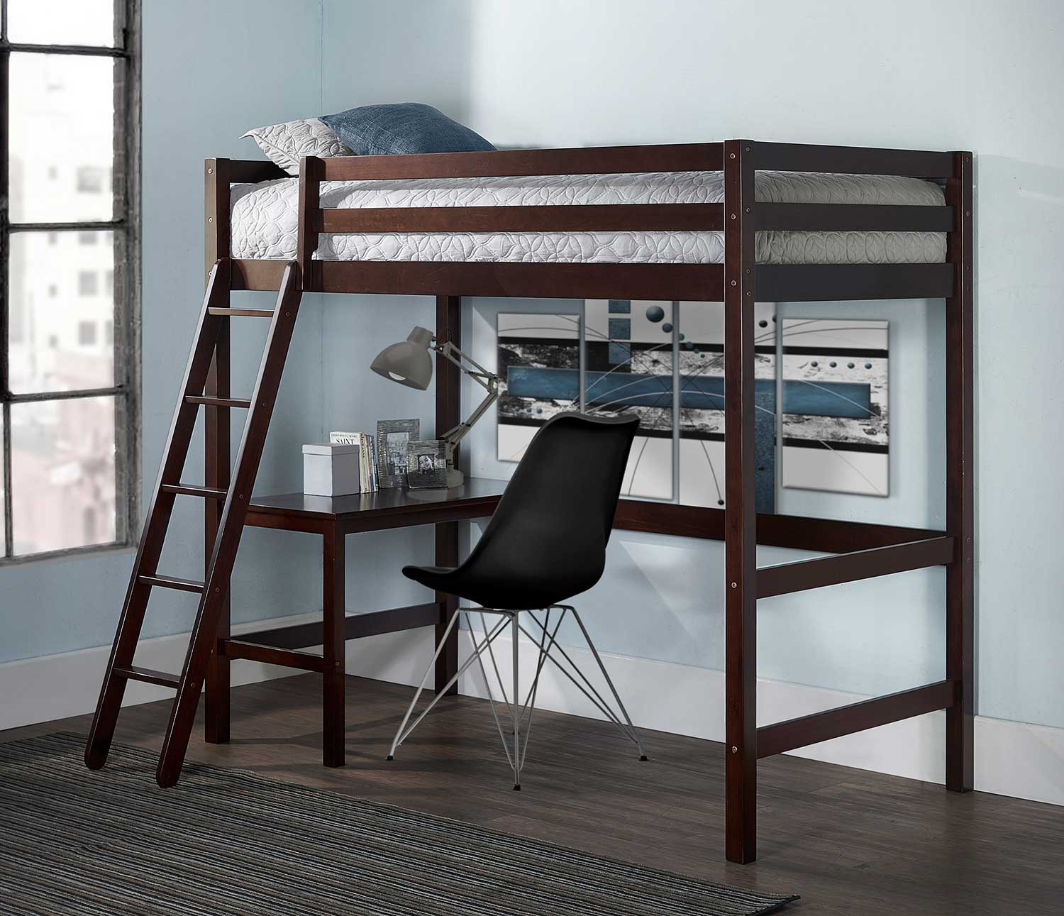Hillsdale Caspian Twin Study Loft Bed With Chair - Chocolate